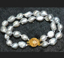 Fashion 2 ROW 9-10 mm Akoya true silver baroque pearl bracelet 7.5 ""