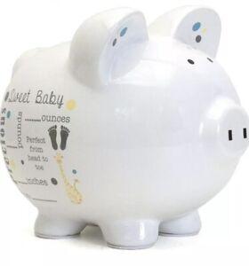 NIB - Child To Cherish Unisex Ceramic Baby Birth Announcement Piggy Bank Gray
