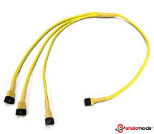 4pin Fan Pwm Yellow Sleeved Y 3 ways Splitter Extension Cable 60cm