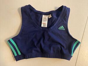 Adidas Women's  3-Stripes Blue Bralette Green Stripes Crop Tank Medium M