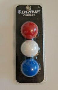 "3 New Brine 2"" Lacrosse Balls Red-White-Blue -  Pack of 3 Balls"