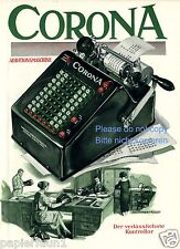 Rechenmaschine Corona Farbreklame 1927 Rechner Calculator ad Additionsmaschine