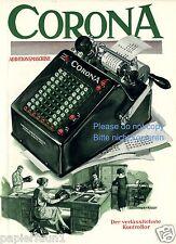 Rechenmaschine Corona Farbreklame 1927 Rechner Calculator ad Additionsmaschine