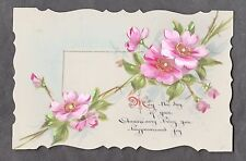 C1916 French plastic card - Flower happiness & joy