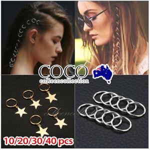 10/40pcs Women Hip-Hop Braid Gold Silver Ring Hair Clip Pin Star DIY Clips