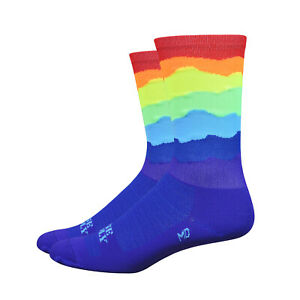 Defeet Aireator 6 Inch Ridge Supply Top Cycle Bike Socks Skyline Rainbow - L