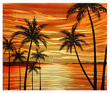 "MWA01 Beach Paradise 1 - 20"" X 24"" Hawaii Sunset Beach Palm Trees Metal Wall Art"