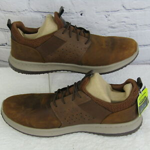 Skechers 65870 Delson-Axton Brown Leather Sneaker Shoes Men's US 13W EU 47.5 NEW