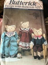 "Butterick 6237 22"" tall Lacey & Lance Cat Dolls Sewing Pattern Plush Hickory"