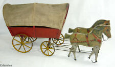 "Antique Gibbs 19"" Horse Drawn Covered Wagon Pull Toy vintage mechanical toy"