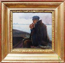 Tableau école du Nord : le pêcheur fumant - signé, XIX° + cadre