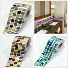 Bathroom Waterproof Wall Sticker Self Adhesive Floor Border Grid Pattern Decal