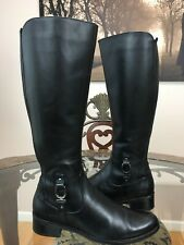 BLONDO Waterproof Black Leather Knee High Equestrian Riding Boot Women 9  #07