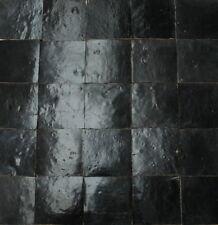 20X Zelliges Wand 10x10x1,2 schwarzgrau glasiert Wandfliesen Tonfliesen Marokko