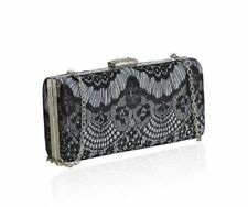 VINTAGE BLACK LACE LADIES CLUTCH BAG EVENING BAG SLEEK GOLD CHAIN
