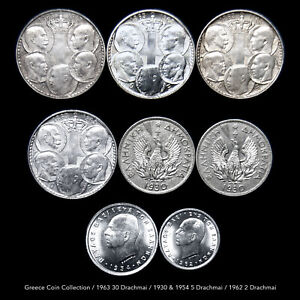 GREECE 30 - 5 & 2 DRACHMAI (8 COINS) 1963-1930-1954-1962 RARE ISSUES