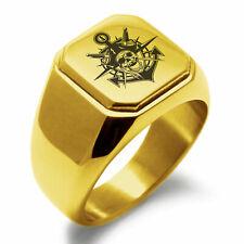 Anchor Square Biker Style Signet Ring Stainless Steel Jolly Roger Pirate Skull