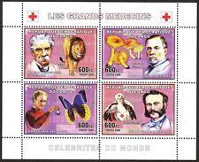 Congo 2006 Red Cross Mushrooms Butterflies Lions Dunant Schweitzer sheet MNH**