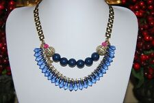 STONY BOLD COUTURE BLUE ACRYLIC BEADS & RHINESTONES ON GOLDEN METAL BIB NECKLACE