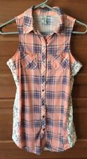 Vanity XS Tank Top Peach Pink Blue Green White Lace Plaid Jrs Womens Button Up