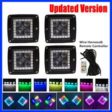 "Set 4pcs CREE Led Work Light 3"" Cube Pods Spot with RGB Halo Multi-Color Chasing"