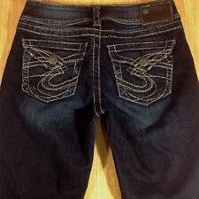 SILVER Jeans SUKI SURPLUS Bootcut 26x30 Dark Distressed  *MINT LN*  L030618