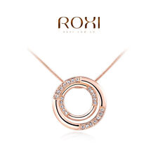 Roxi Womens Rose Gold Plated Zircon Double Rings Pendant Long Necklace Chain