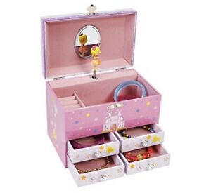 Large Princess On Unicorn W/ Castle Musical Jewelry Storage Box W/ 4 Drawers