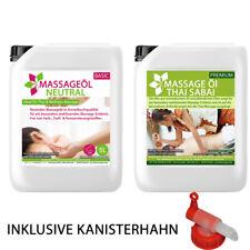 MyThaiMassage - 10L Massageöl Set: 5L Neutral + 5L Thai Sabai + Kanisterhahn