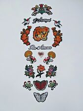 Tiger Patch +  Flower, Birds, and Butterfly Patches! Set of 18! USA SHIPPING!