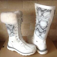 UGG Adirondack Tall III Snake White Waterproof Leather Snow Boots Size 10 Womens