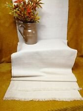 More details for french vintage table runner linen cotton blend fringed minimalist tablecloth