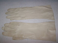 VINTAGE LADIES KID LEATHER 11'' EVENING OPERA GLOVES SIZE 7 - MADE ITALY