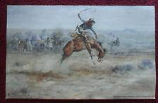 1985 Anheuser-Busch Beer Poster ~ Western Cowboy on Bucking Horse Cm Russell Art