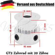 GT2 20 Zähne Zahnrad 2GT Riemenscheibe Zahnriemenrad CNC 3D Druck  5mm Alu L0025