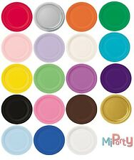 """Round Paper Party Plates 7"""" & 9"""" Plain Solid Colour Tableware Catering Birthdays"""