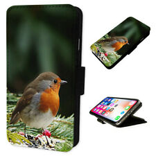 Christmas Robin - Flip Phone Case Wallet Cover Fits Iphone 5 6 7 8 X 11