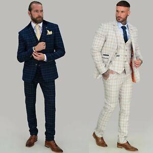 Mens Cavani Peaky Blinders Check Tweed 3 Piece Suit Slim Fit Short Regular Long