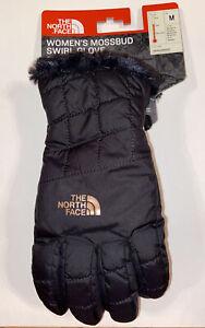 NWT THE NORTH FACE WOMEN'S MOSSBUD SWIRL GLOVE TNF BLACK/ROSE GOLD MEDIUM $35