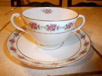 MZ Austria Cream Soup Cup Bowl Bouillon and Saucer Pink Roses