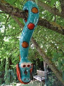 Baumschlange Schlange Keramik, z. hängen, frostsicher Unikat, türkis, Gartendeko