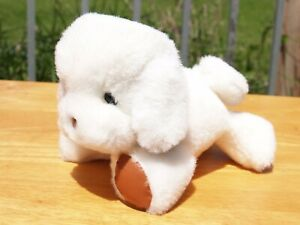 """RARE VINTAGE BABY GUND - 7"""" WHITE DOGFEAT PUPPY DOG- RATTLE - #1774 -1983 -NWOT"""