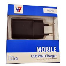 V7 2 Pin EU USB Wall Charger 1.0A Black for All USB Powered Devices