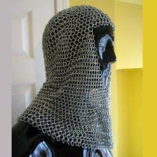 Butted Chain Mail Coif Standard Size Zinc Plated Galvanized Coif Armour Hood