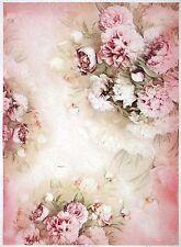 Carta di riso per Decoupage Scrapbook Craft sheet A/3 rose e peonie bianco