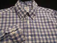 Brooks Brothers Mens Large Long Sleeve Button-Down Blue Plaid Check Shirt