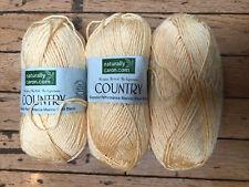 Lot of 3 skeins of Naturally Caron Country Merino Wool Blend Yarn, Soft Sunshine