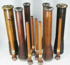 """Vintage Wooden Bobbin Industrial Thread Spools 10 & 12"""" Lot of 12 Candle Holders"""
