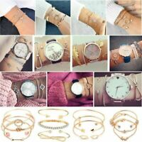 New 4Pcs/Set Ladies Gold Arrow Knot Crystal Round Opening Bangle Chain Bracelet
