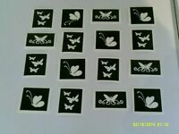 Dazzle Glitter Tattoos 10 x butterfly stencils for etching on glass (mixed)